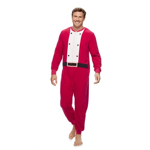 Men's Jammies For Your Families Santa Suit One-Piece Fleece Pajamas