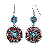 Mudd® Nickel Free Floral Medallion Drop Earrings