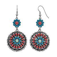 Mudd® Nickel Free Floral Medallion Drop Earrings