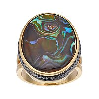 olive & ivy Abalone Oval Ring