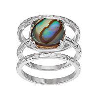 olive & ivy Abalone Ring Set