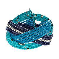 Mudd® Blue Seed Bead Braided Cuff Bracelet