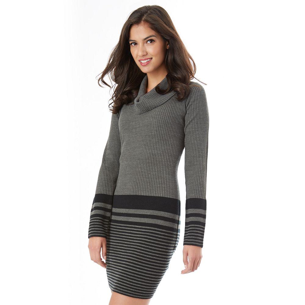 IZ Byer Striped Cowlneck Sweater Dress