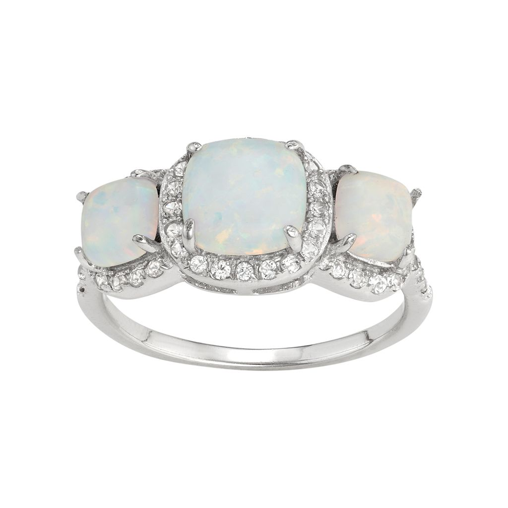 Sterling Silver Lab-Created Opal & White Sapphire 3-Stone Halo Ring