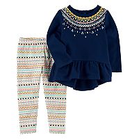 Baby Girl Carter's Peplum Tunic Top & Geometric Printed Leggings Set