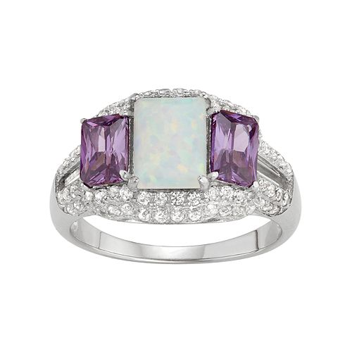 Sterling Silver Lab-Created Opal & Amethyst 3-Stone Ring
