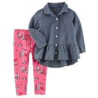 Baby Girl Carter's Chambray Peplum Top & Floral Leggings Set