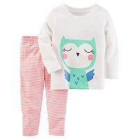 Baby Girl Carter's Owl Graphic Tee & Striped Leggings Set