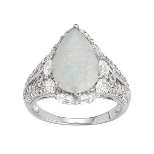 Sterling Silver Lab-Created Opal & White Sapphire Teardrop Ring