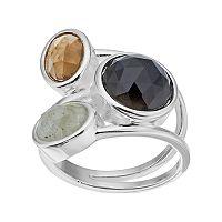 olive & ivy Onyx, Labradorite & Brown Topaz Ring