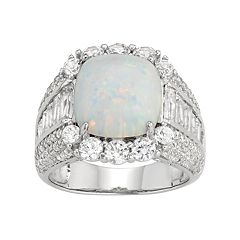Sterling Silver Lab-Created Opal & White Sapphire Cushion Ring