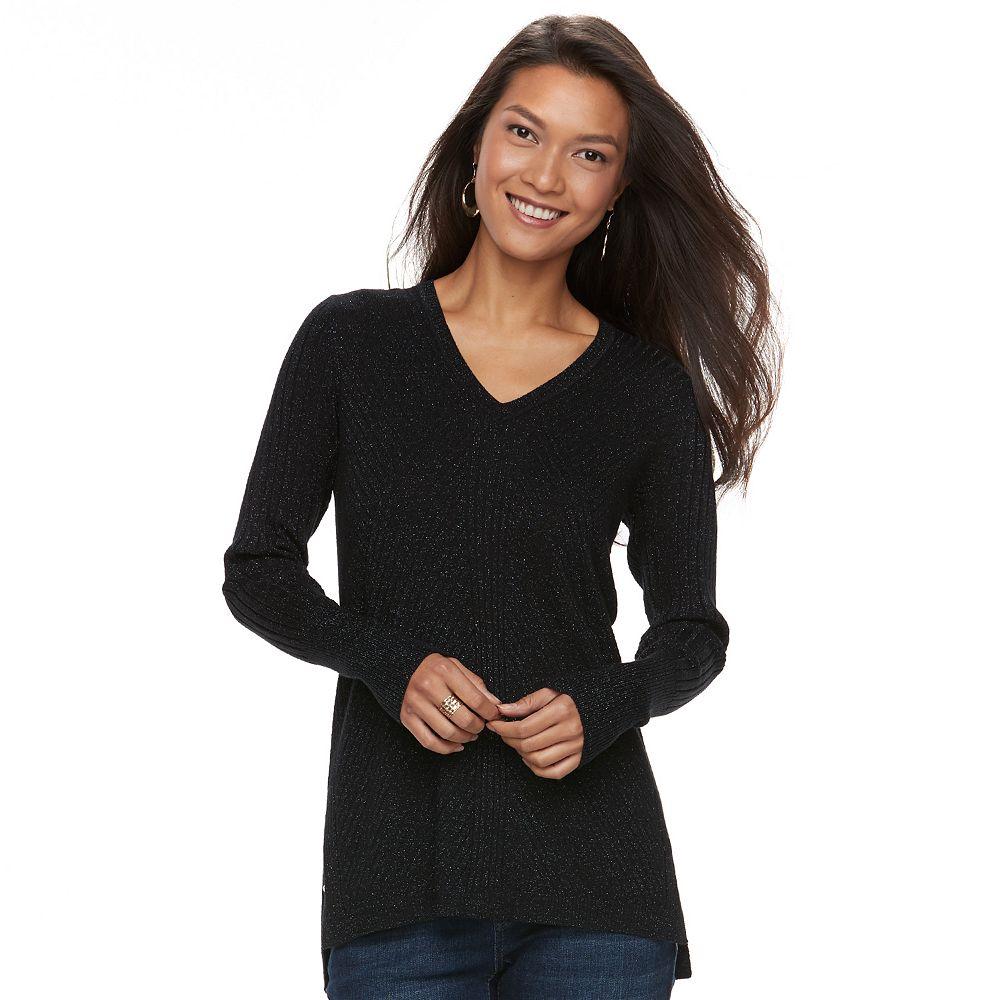 Apt. 9® Mixed Ribbed V-Neck Sweater