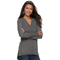 Women's Apt. 9® Mixed Ribbed V-Neck Sweater