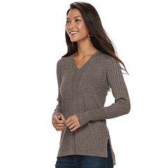 Women's Apt. 9® Mixed Ribbed V-Neck Sweater