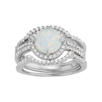 Sterling Silver Lab-Created Opal & White Sapphire Halo Ring Set
