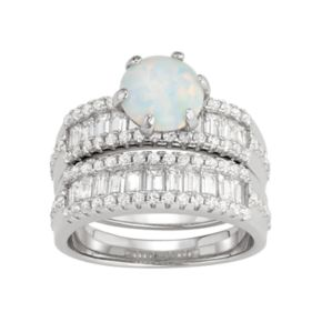 Sterling Silver Lab-Created Opal & White Sapphire Ring Set
