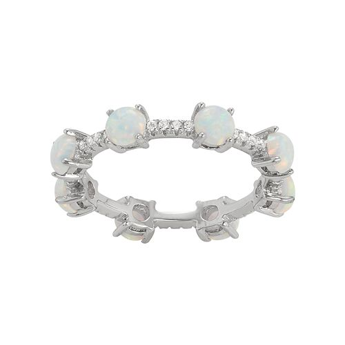 Sterling Silver Lab-Created Opal & White Sapphire Eternity Ring