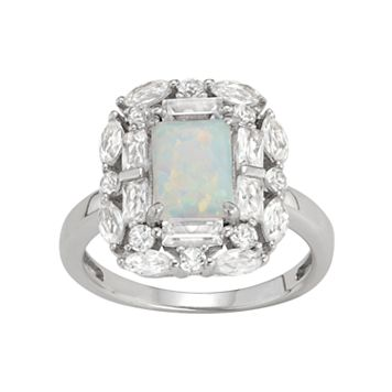 Sterling Silver Lab-Created Opal & White Sapphire Rectangle Ring