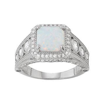 Sterling Silver Lab-Created Opal & White Sapphire Cushion Halo Ring
