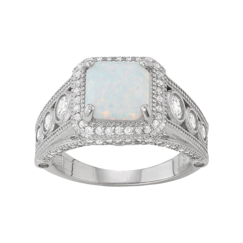 Sterling Silver Lab-Created Opal & White Sapphire Cushion Halo Ring. Women's. Size: 6