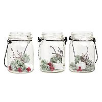 Apothecary Artificial Pine Light-Up Mason Jar Table Decor 3 pc Set