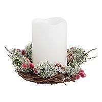 Apothecary Artificial Wreath LED Candle Christmas Table Decor