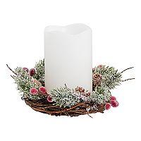 Apothecary Artificial Wreath LED Candle Christmas Table Decor