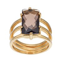 olive & ivy Smoky Quartz Rectangle Multirow Ring
