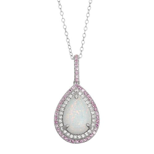 Sterling Silver Lab-Created Opal & Lab-Created Sapphire Halo Teardrop Pendant
