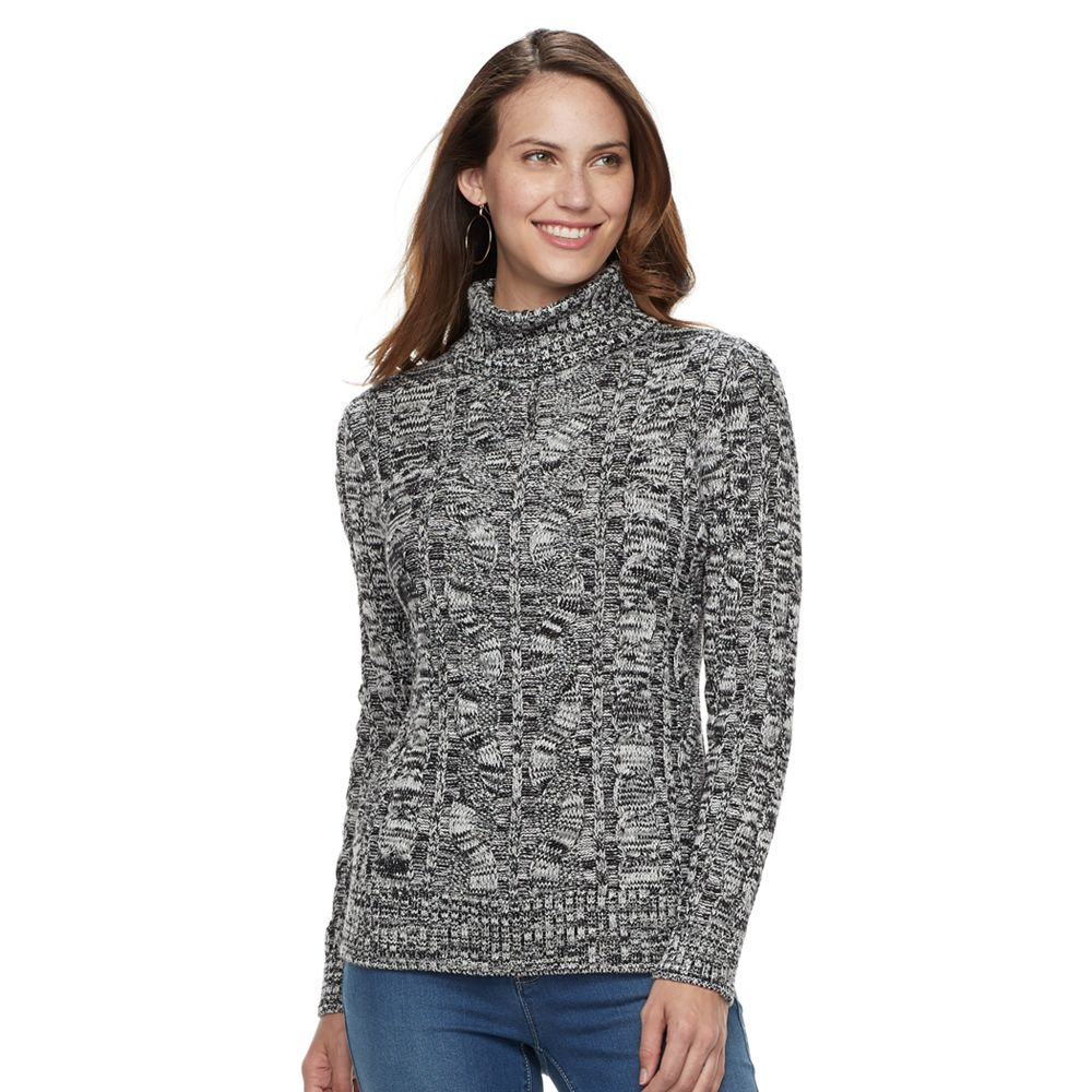 Womens Croft Barrow Turtleneck Cable Knit Sweater