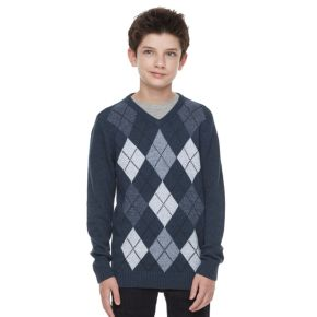 Boys 8-20 Urban Pipeline® Regular-Fit Argyle V-Neck Sweater