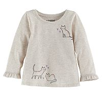 Baby Girl Jumping Beans® Graphic Ruffled-Cuff Top