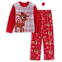 Girls 4-10 Jammies For Your Families Rudolph The Red Nosed Reindeer Top & Bottoms Pajama Set with Red Nose