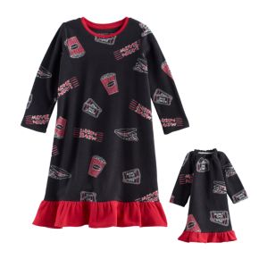 Toddler Girl Jammies For Your Families Movie Night Microfleece Nightgown & Doll Gown Pajama Set