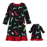 Toddler Girl Jammies For Your Families Holiday Dog Microfleece Nightgown & Doll Gown Pajama Set