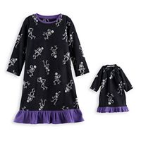 Toddler Girl Jammies For Your Families Skeleton Microfleece Halloween Nightgown & Doll Gown Pajama Set