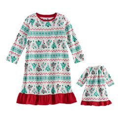 Toddler Girl Jammies For Your Families Christmas Tree Fairisle Microfleece Nightgown & Doll Gown Pajama Set