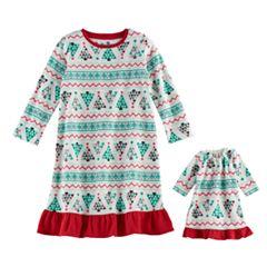 Toddler Girl Jammies For Your Families Christmas Tree Fairisle Microfleece Nightgown & Doll Gown Pajama Set