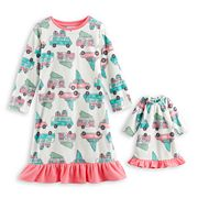 Toddler Girl Jammies For Your Families Retro Car Microfleece Nightgown & Doll Gown Pajama Set