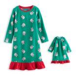 Toddler Girl Jammies For Your Families Holiday Cat Microfleece Nightgown & Doll Gown Pajama Set
