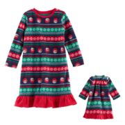 Toddler Girl Jammies For Your Families Snowman Fairisle Microfleece Nightgown & Doll Gown Pajama Set