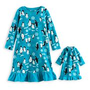 Toddler Girl Jammies For Your Families Penguin Microfleece Nightgown & Doll Gown Pajama Set
