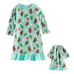 Toddler Girl Jammies For Your Families Holiday Cookies Microfleece Nightgown & Doll Gown Pajama Set