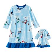 Toddler Girl Jammies For Your Families Football Snowmen Microfleece Nightgown & Doll Gown Pajama Set