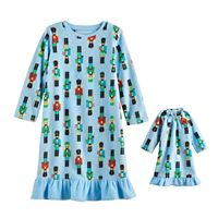 Toddler Girl Jammies For Your Families Nutcracker Microfleece Nightgown & Doll Gown Pajama Set