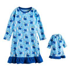 Toddler Girl Jammies For Your Families Hanukkah Polar Bear Microfleece Nightgown & Doll Gown Pajama Set
