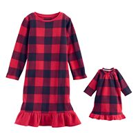 Toddler Girl Jammies For Your Families Buffalo Plaid Microfleece Nightgown & Doll Gown Pajama Set