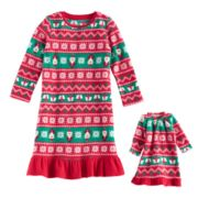 Toddler Girl Jammies For Your Families Santa Fairisle Microfleece Nightgown & Doll Gown Pajama Set