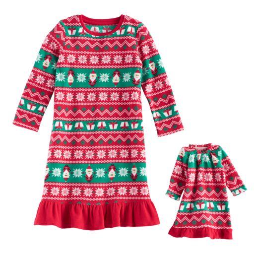 Toddler Girl Jammies For Your Families Santa Fairisle Microfleece Nightgown & Doll Gown Pajama Set