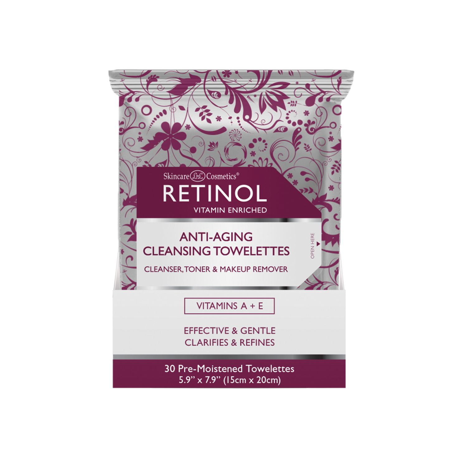 Retinol Anti-aging Cleansing Towelettes, 30 Ct Activating Cream 1.7oz